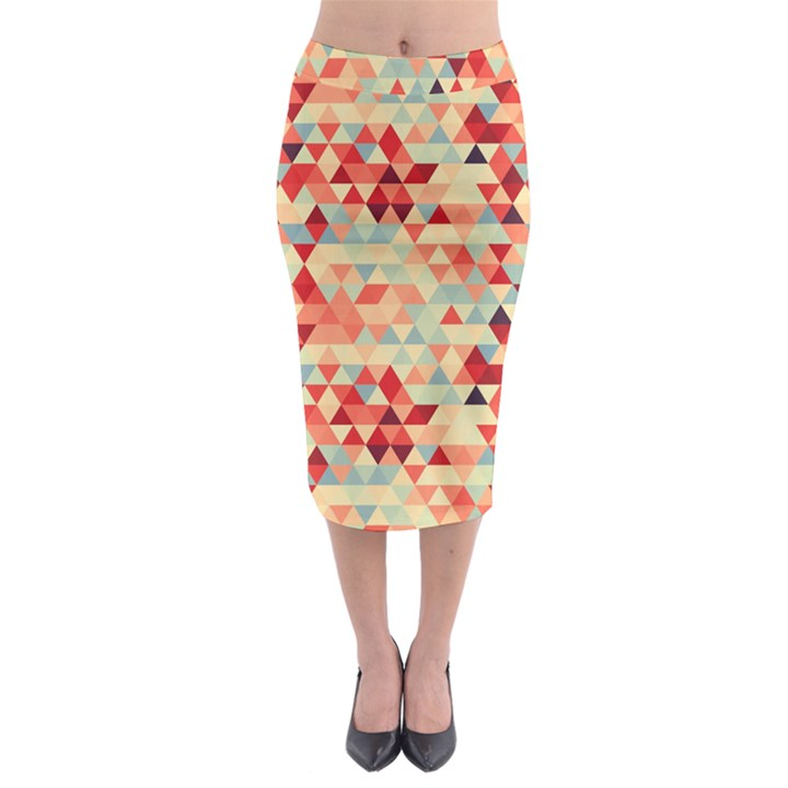 Modern Hipster Triangle Pattern Red Blue Beige Midi Pencil Skirt
