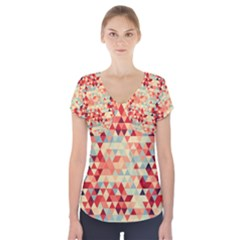 Modern Hipster Triangle Pattern Red Blue Beige Short Sleeve Front Detail Top by EDDArt