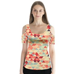 Modern Hipster Triangle Pattern Red Blue Beige Butterfly Sleeve Cutout Tee