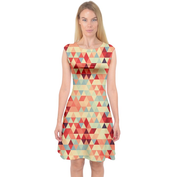 Modern Hipster Triangle Pattern Red Blue Beige Capsleeve Midi Dress