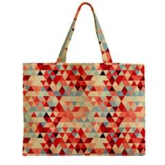Modern Hipster Triangle Pattern Red Blue Beige Medium Zipper Tote Bag