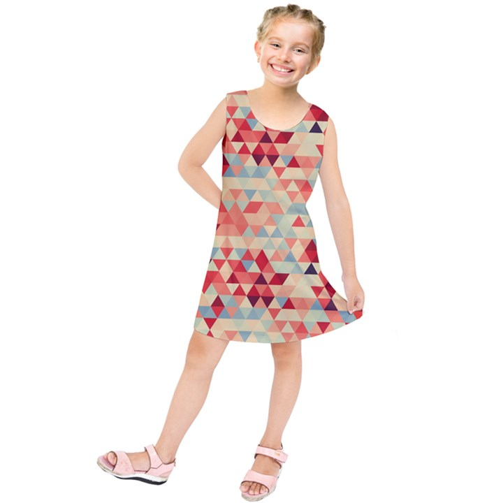 Modern Hipster Triangle Pattern Red Blue Beige Kids  Tunic Dress