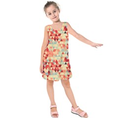 Modern Hipster Triangle Pattern Red Blue Beige Kids  Sleeveless Dress by EDDArt