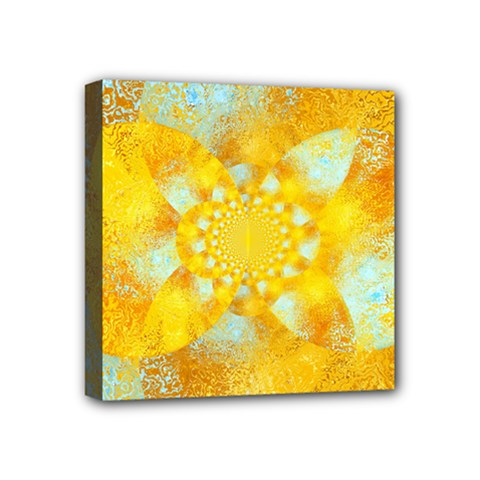 Gold Blue Abstract Blossom Mini Canvas 4  X 4  by designworld65