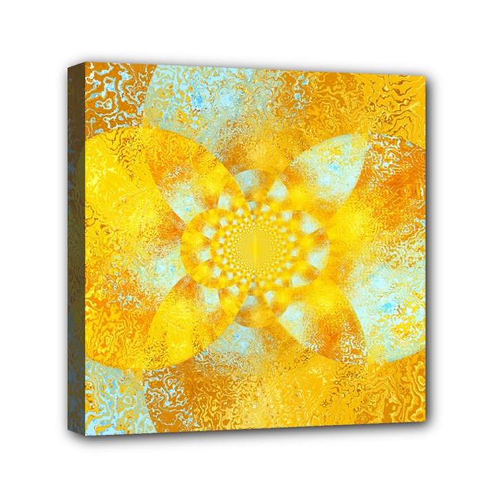 Gold Blue Abstract Blossom Mini Canvas 6  x 6