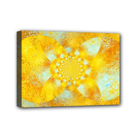 Gold Blue Abstract Blossom Mini Canvas 7  X 5  by designworld65
