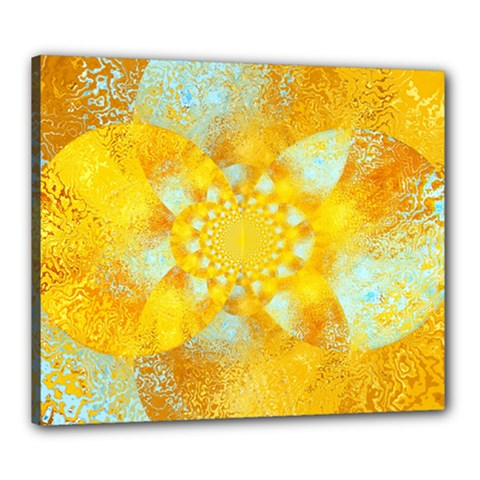 Gold Blue Abstract Blossom Canvas 24  X 20