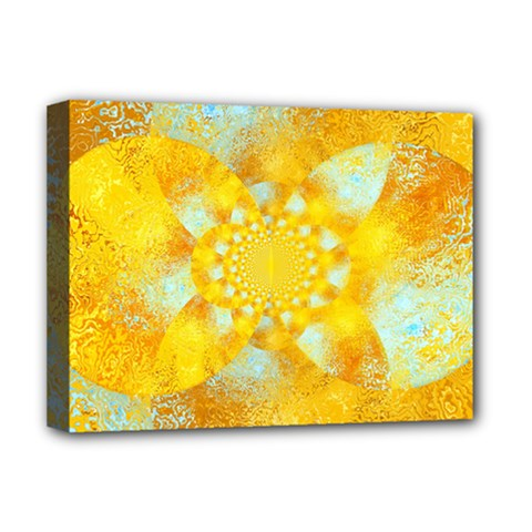 Gold Blue Abstract Blossom Deluxe Canvas 16  X 12