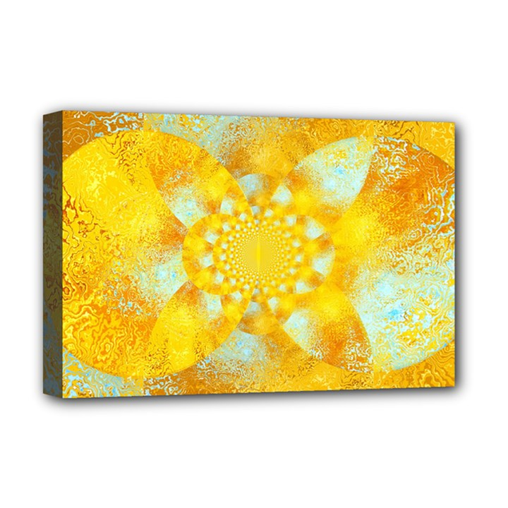 Gold Blue Abstract Blossom Deluxe Canvas 18  x 12