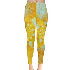 Gold Blue Abstract Blossom Leggings