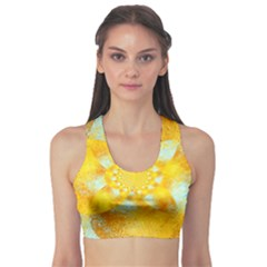Gold Blue Abstract Blossom Sports Bra