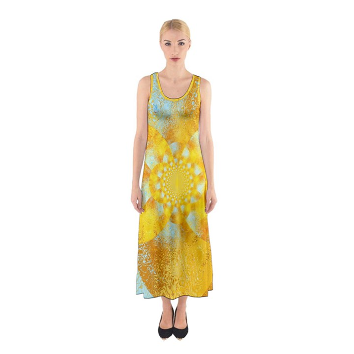 Gold Blue Abstract Blossom Sleeveless Maxi Dress