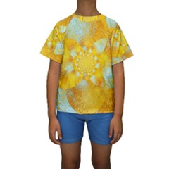 Gold Blue Abstract Blossom Kids  Short Sleeve Swimwear by designworld65