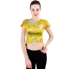 Gold Blue Abstract Blossom Crew Neck Crop Top