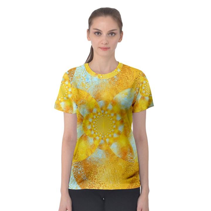 Gold Blue Abstract Blossom Women s Sport Mesh Tee