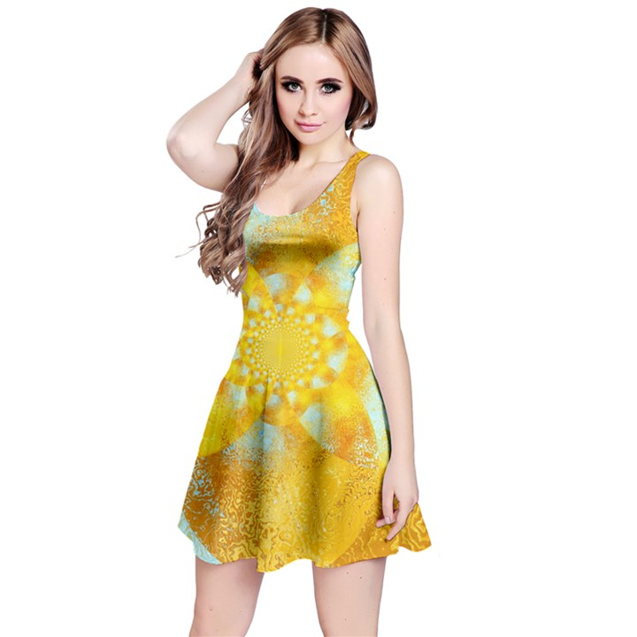 Gold Blue Abstract Blossom Reversible Sleeveless Dress