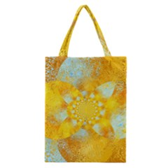 Gold Blue Abstract Blossom Classic Tote Bag by designworld65