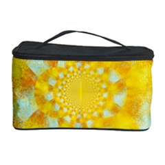 Gold Blue Abstract Blossom Cosmetic Storage Case by designworld65