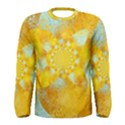 Gold Blue Abstract Blossom Men s Long Sleeve Tee View1