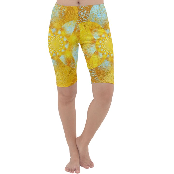 Gold Blue Abstract Blossom Cropped Leggings