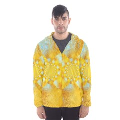 Gold Blue Abstract Blossom Hooded Wind Breaker (men) by designworld65