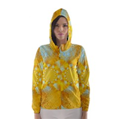 Gold Blue Abstract Blossom Hooded Wind Breaker (women) by designworld65