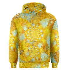 Gold Blue Abstract Blossom Men s Pullover Hoodie by designworld65