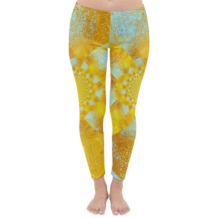 Gold Blue Abstract Blossom Winter Leggings