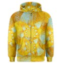 Gold Blue Abstract Blossom Men s Zipper Hoodie View1