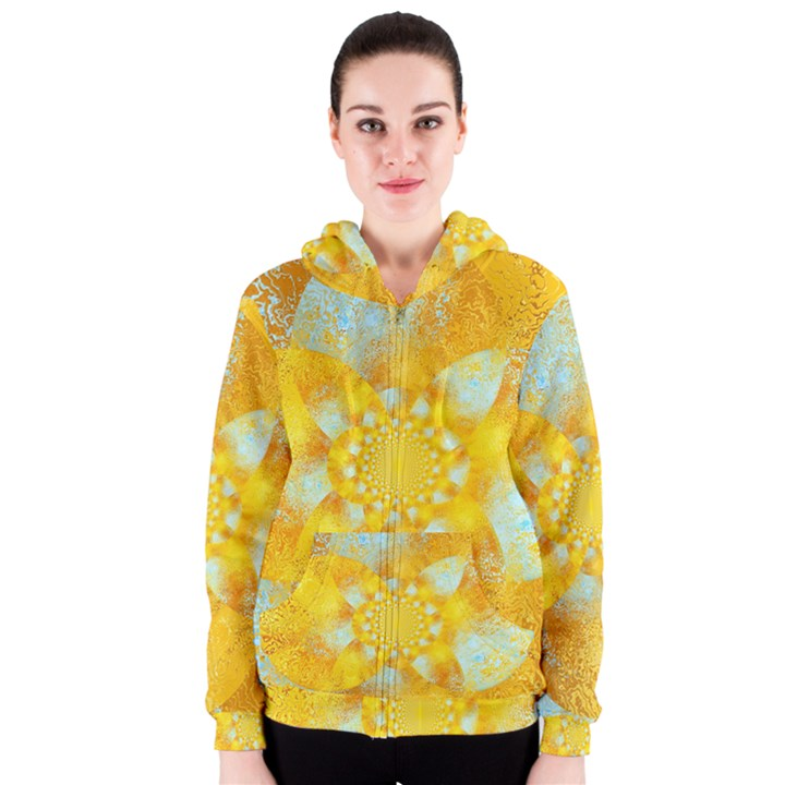 Gold Blue Abstract Blossom Women s Zipper Hoodie