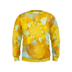 Gold Blue Abstract Blossom Kids  Sweatshirt by designworld65