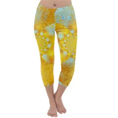 Gold Blue Abstract Blossom Capri Winter Leggings
