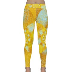 Gold Blue Abstract Blossom Yoga Leggings  by designworld65