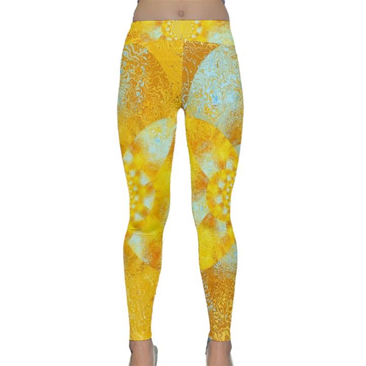 Gold Blue Abstract Blossom Yoga Leggings