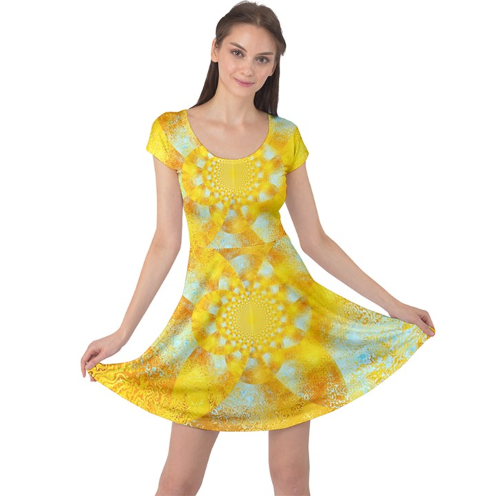 Gold Blue Abstract Blossom Cap Sleeve Dresses