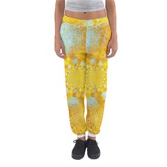 Gold Blue Abstract Blossom Women s Jogger Sweatpants by designworld65