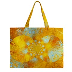 Gold Blue Abstract Blossom Zipper Mini Tote Bag by designworld65
