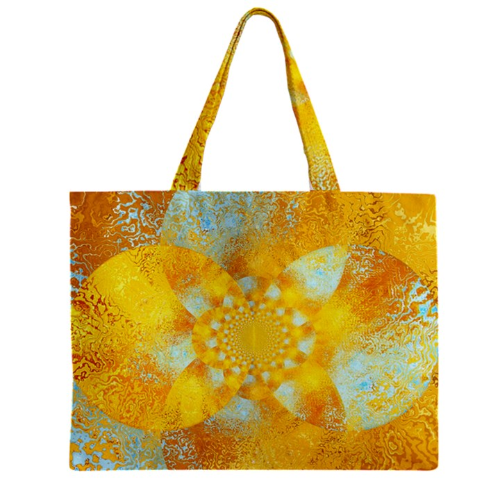 Gold Blue Abstract Blossom Zipper Mini Tote Bag