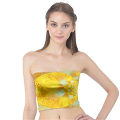 Gold Blue Abstract Blossom Tube Top by designworld65