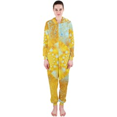 Gold Blue Abstract Blossom Hooded Jumpsuit (ladies)