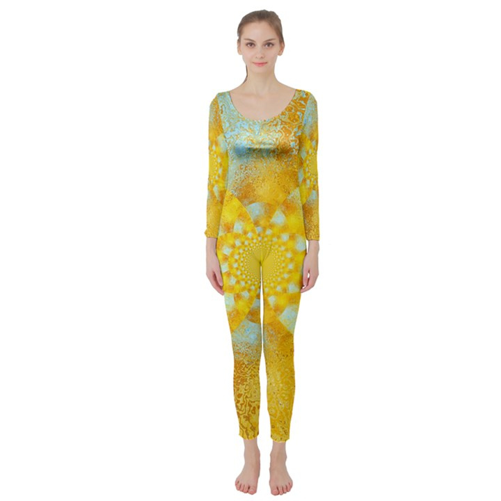 Gold Blue Abstract Blossom Long Sleeve Catsuit