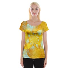 Gold Blue Abstract Blossom Women s Cap Sleeve Top by designworld65
