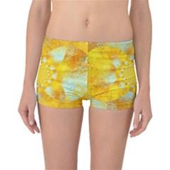 Gold Blue Abstract Blossom Boyleg Bikini Bottoms