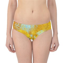 Gold Blue Abstract Blossom Hipster Bikini Bottoms by designworld65