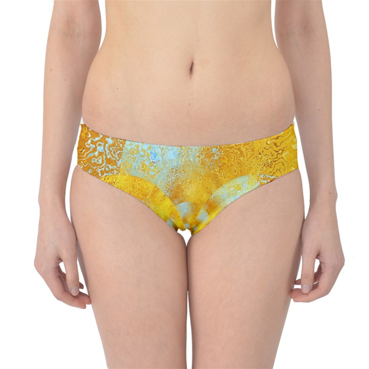 Gold Blue Abstract Blossom Hipster Bikini Bottoms