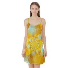 Gold Blue Abstract Blossom Satin Night Slip by designworld65