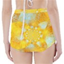 Gold Blue Abstract Blossom High-Waisted Bikini Bottoms View2