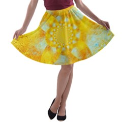 Gold Blue Abstract Blossom A Line Skater Skirt