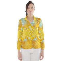 Gold Blue Abstract Blossom Wind Breaker (women) by designworld65