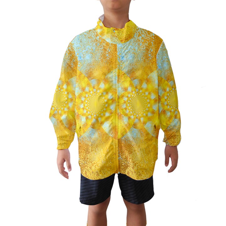 Gold Blue Abstract Blossom Wind Breaker (Kids)